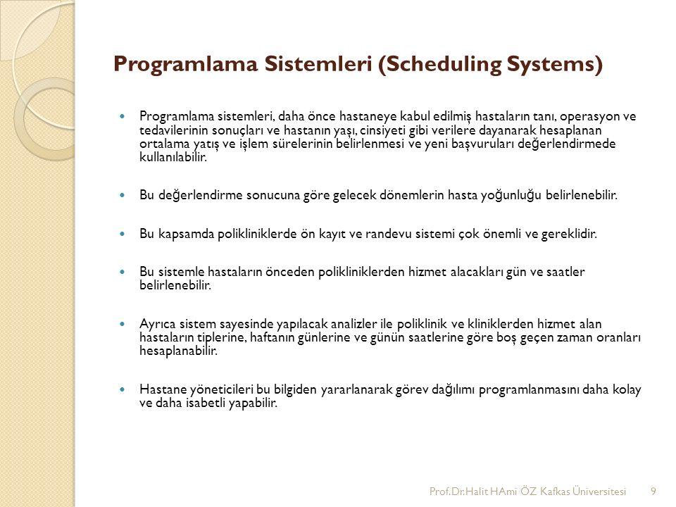 Programlama Sistemleri (Scheduling Systems) Programlama sistemleri, daha önce hastaneye kabul edilmiş hastaların tanı, operasyon ve tedavilerinin sonuçları ve hastanın yaşı, cinsiyeti gibi verilere dayanarak hesaplanan ortalama yatış ve işlem sürelerinin belirlenmesi ve yeni başvuruları de ğ erlendirmede kullanılabilir.