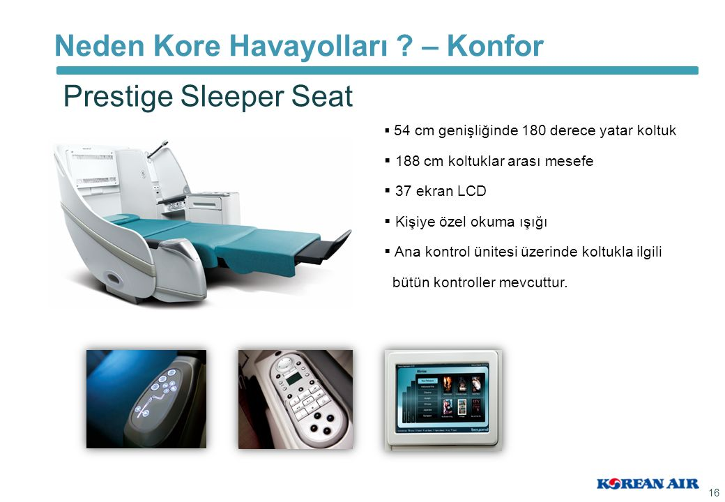 Neden Kore Havayolları ? – Konfor 16 Prestige Sleeper Seat   54 cm genişliğinde 180 derece yatar koltuk   188 cm koltuklar arası mesefe   37 ekr