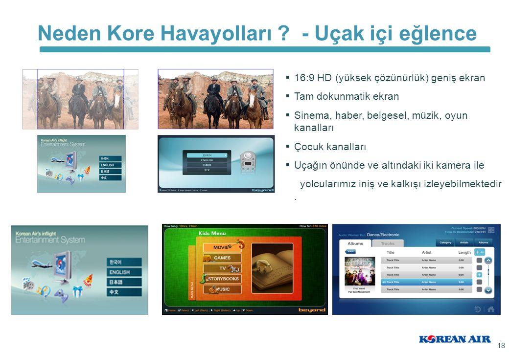 Neden Kore Havayolları ? - Uçak içi eğlence 18   16:9 HD (yüksek çözünürlük) geniş ekran   Tam dokunmatik ekran   Sinema, haber, belgesel, müzik