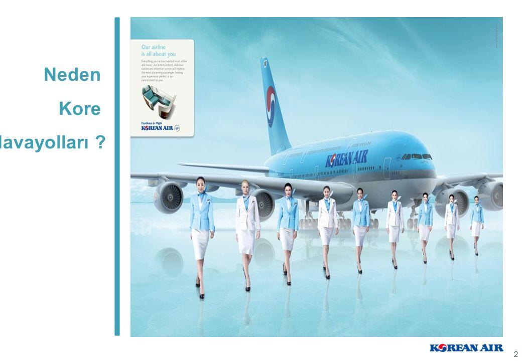 Kore Havayolları Avantajları Kore Havayolları dünyada yaklaşık 1400 kamu ve özel firmalar ile kurumsal seyahat anlaşması yapmaktadır.