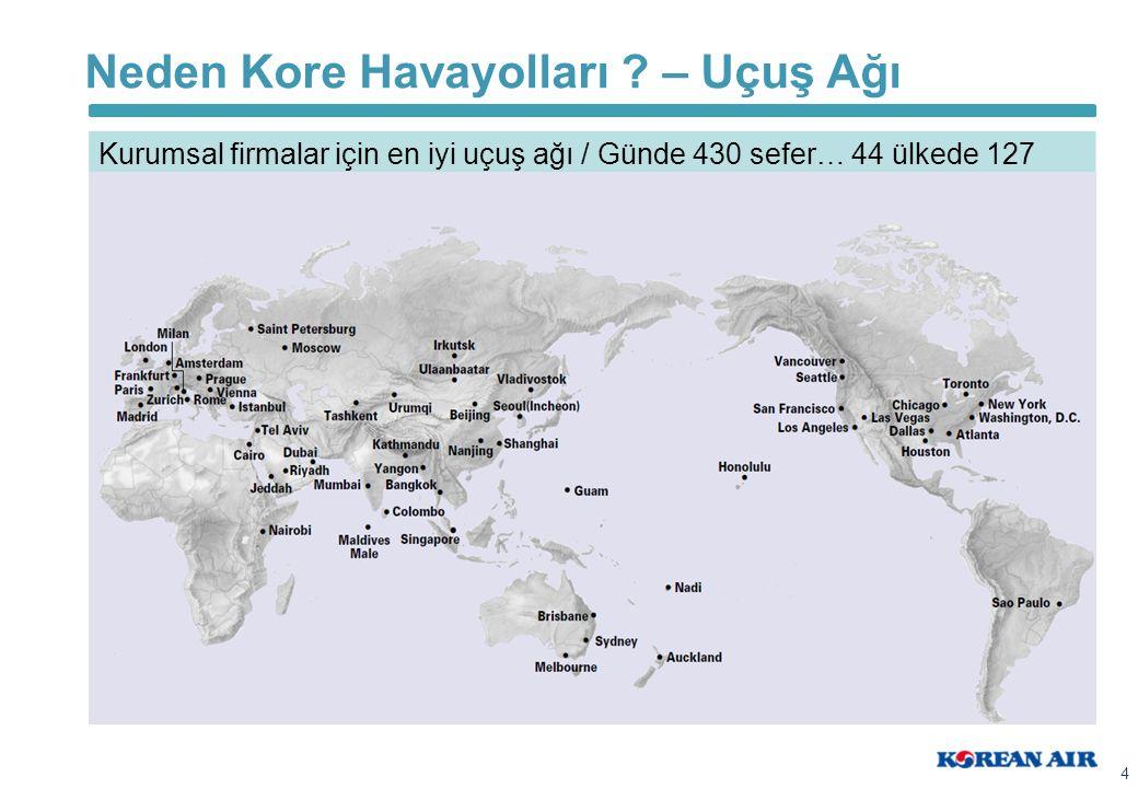 Neden Kore Havayolları ? – Uçuş Ağı 4 Kurumsal firmalar için en iyi uçuş ağı / Günde 430 sefer… 44 ülkede 127 şehir…