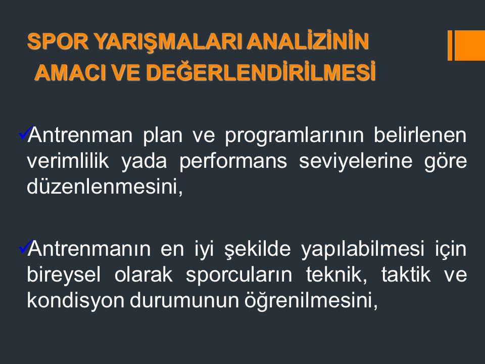 Verilerin Gruplandırılması  Standart Bilgiler- Level 1  Team sheet, score, cards, etc…  Oyun Bilgileri- Level 2  Effective time, off sides, fouls, etc…  Takım Bilgileri- Level 3  Possession, shots, shots on target, crosses, balls played / won / lost, etc…  Oyuncu Bilgileri- Level 4  Possession, shots, passes, crosses, balls played / won / lost, etc…  Alan ile ilgili bilgiler- Level 5  Length of plays / Plays direction, etc…  Alan ve Materyal bilgileri - Level 6  Each ball touch is captured from ball reception to involuntary ball touch, etc.…  Ball contacts & Tracking - Level 7  All players movements are captured to complete the fitness perfomance measuring
