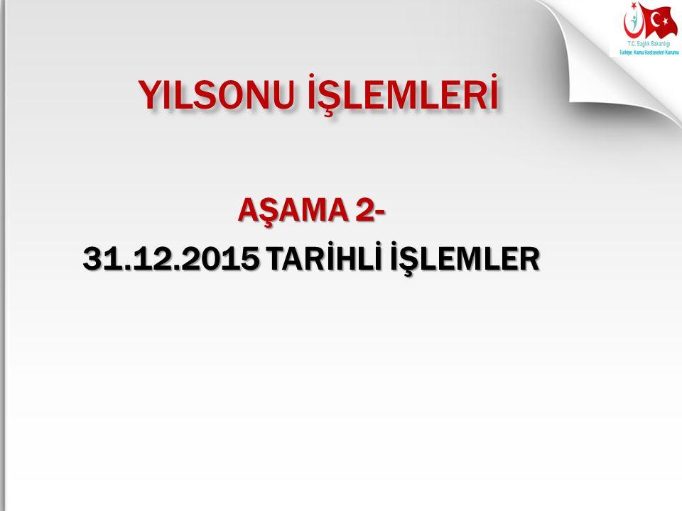 YILSONU İŞLEMLERİ AŞAMA 2- 31.12.2015 TARİHLİ İŞLEMLER