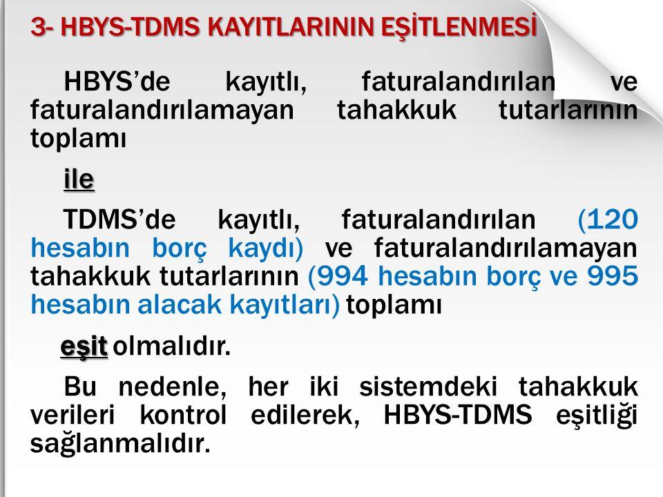 3- HBYS-TDMS KAYITLARININ EŞİTLENMESİ HBYS'de kayıtlı, faturalandırılan ve faturalandırılamayan tahakkuk tutarlarının toplamı ile TDMS'de kayıtlı, fat