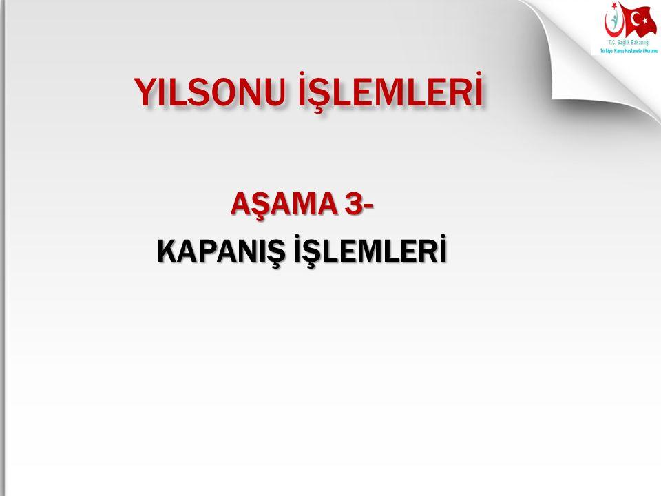 YILSONU İŞLEMLERİ AŞAMA 3- KAPANIŞ İŞLEMLERİ