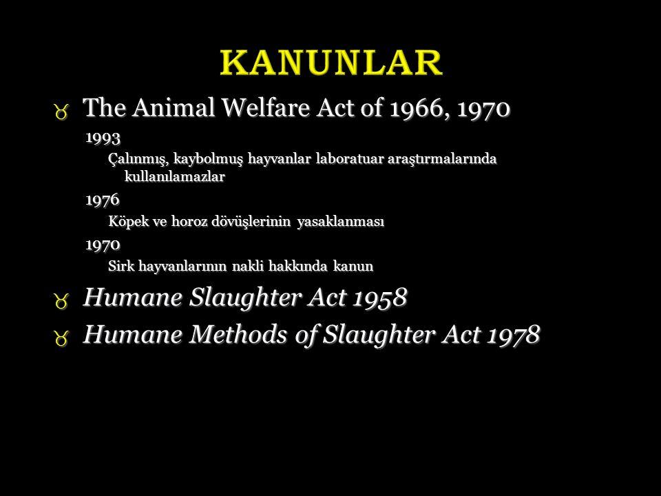  The Animal Welfare Act of 1966, 1970 1993 Çalınmış, kaybolmuş hayvanlar laboratuar araştırmalarında kullanılamazlar 1976 Köpek ve horoz dövüşlerinin yasaklanması 1970 Sirk hayvanlarının nakli hakkında kanun  Humane Slaughter Act 1958  Humane Methods of Slaughter Act 1978