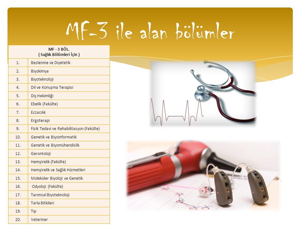 MF-3 ile alan bölümler MF - 3 BÖL. ( Sağlık Bölümleri İçin ) 1.Beslenme ve Diyetetik 2.Biyokimya 3.Biyoteknoloji 4.Dil ve Konuşma Terapisi 5.Diş Hekim