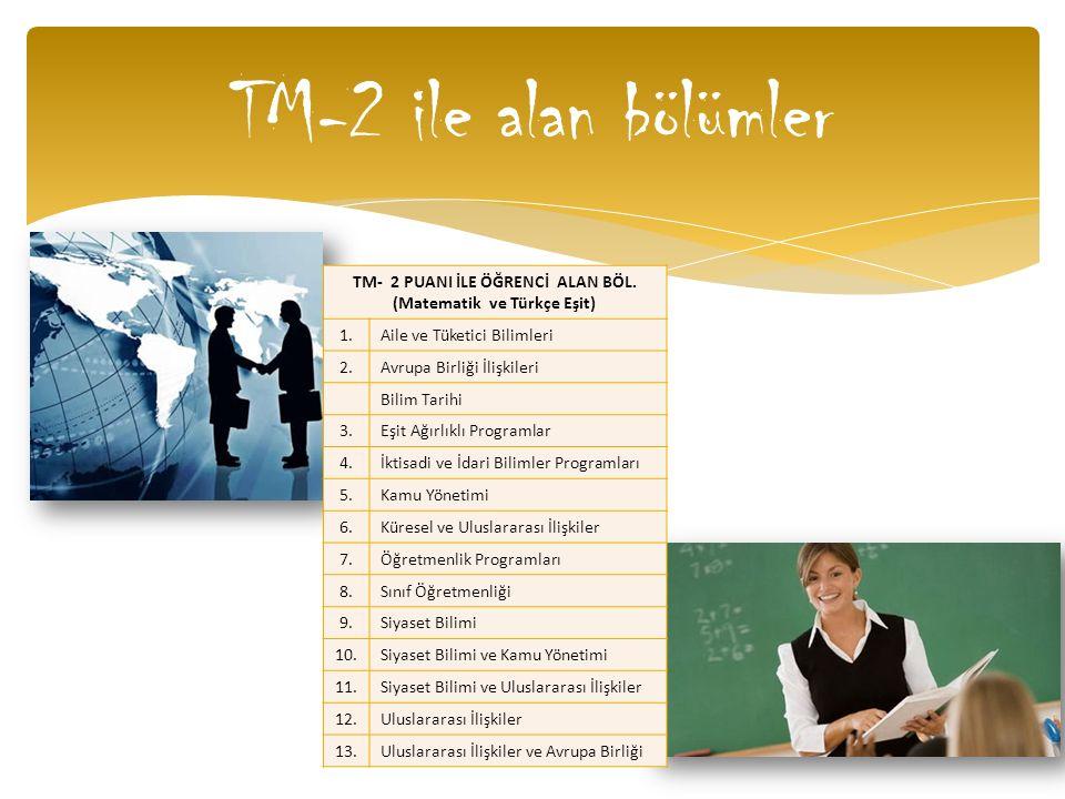 TM-2 ile alan bölümler TM- 2 PUANI İLE ÖĞRENCİ ALAN BÖL. (Matematik ve Türkçe Eşit) 1.Aile ve Tüketici Bilimleri 2.Avrupa Birliği İlişkileri Bilim Tar
