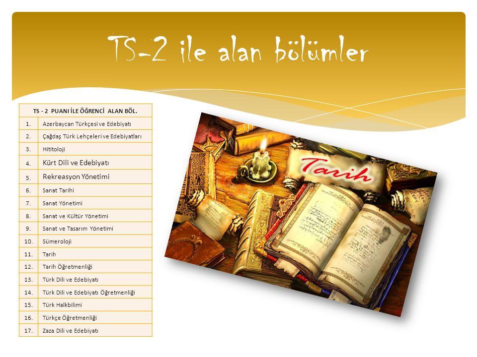 TS-2 ile alan bölümler TS - 2 PUANI İLE ÖĞRENCİ ALAN BÖL. 1.Azerbaycan Türkçesi ve Edebiyatı 2.Çağdaş Türk Lehçeleri ve Edebiyatları 3.Hititoloji 4. K