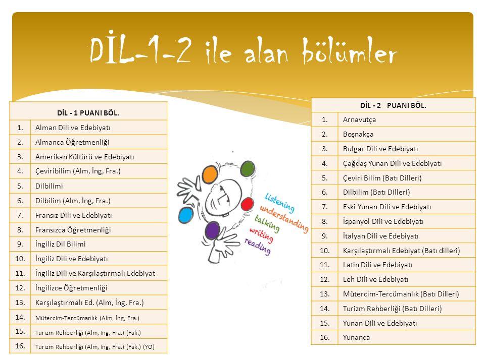 D İ L-1-2 ile alan bölümler DİL - 1 PUANI BÖL. 1.Alman Dili ve Edebiyatı 2.Almanca Öğretmenliği 3.Amerikan Kültürü ve Edebiyatı 4.Çeviribilim (Alm, İn