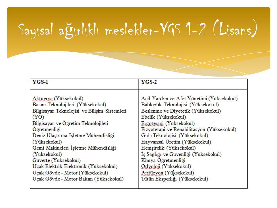 Sayısal a ğ ırlıklı meslekler-YGS 1-2 (Lisans)