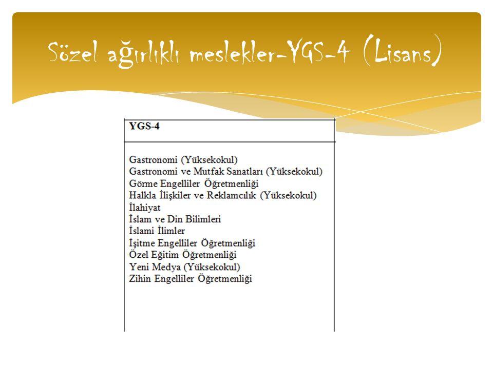 Sözel a ğ ırlıklı meslekler-YGS-4 (Lisans)
