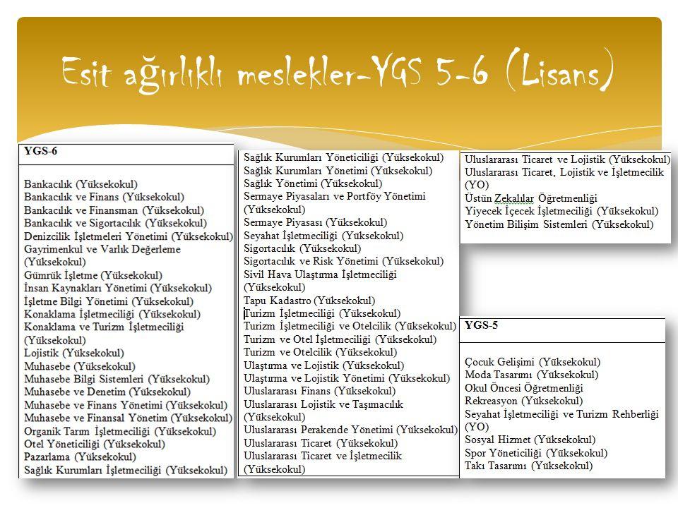 Esit a ğ ırlıklı meslekler-YGS 5-6 (Lisans)
