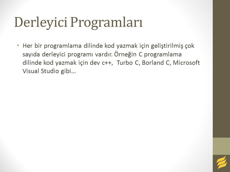 Derleyici Programları Her bir programlama dilinde kod yazmak için geliştirilmiş çok sayıda derleyici programı vardır. Örneğin C programlama dilinde ko