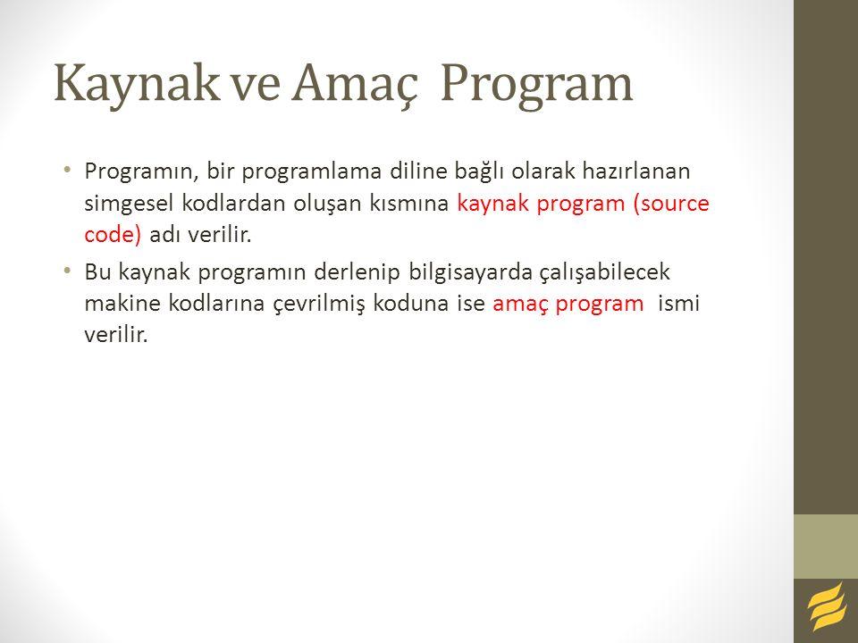 Kaynak ve Amaç Program Programın, bir programlama diline bağlı olarak hazırlanan simgesel kodlardan oluşan kısmına kaynak program (source code) adı ve