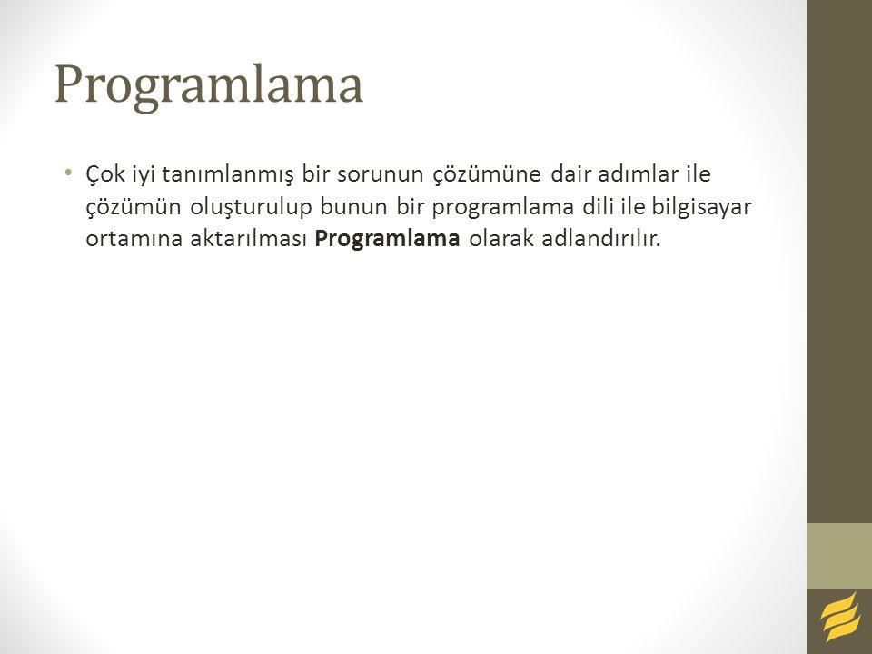 Programlama Çok iyi tanımlanmış bir sorunun çözümüne dair adımlar ile çözümün oluşturulup bunun bir programlama dili ile bilgisayar ortamına aktarılması Programlama olarak adlandırılır.