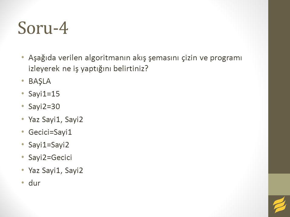 Soru-4 Aşağıda verilen algoritmanın akış şemasını çizin ve programı izleyerek ne iş yaptığını belirtiniz? BAŞLA Sayi1=15 Sayi2=30 Yaz Sayi1, Sayi2 Gec