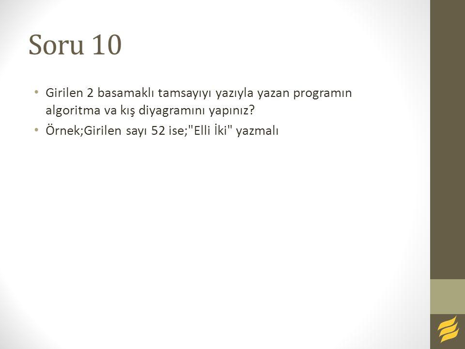 Soru 10 Girilen 2 basamaklı tamsayıyı yazıyla yazan programın algoritma va kış diyagramını yapınız? Örnek;Girilen sayı 52 ise;