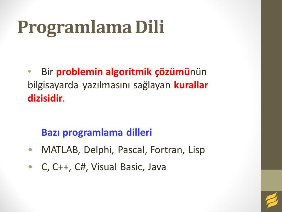 Programlama Dili Bir problemin algoritmik çözümünün bilgisayarda yazılmasını sağlayan kurallar dizisidir. Bazı programlama dilleri MATLAB, Delphi, Pas
