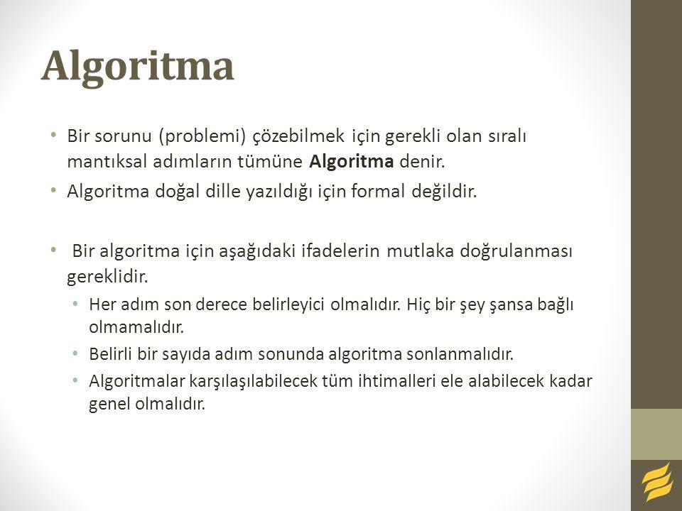 Algoritma Bir sorunu (problemi) çözebilmek için gerekli olan sıralı mantıksal adımların tümüne Algoritma denir. Algoritma doğal dille yazıldığı için f
