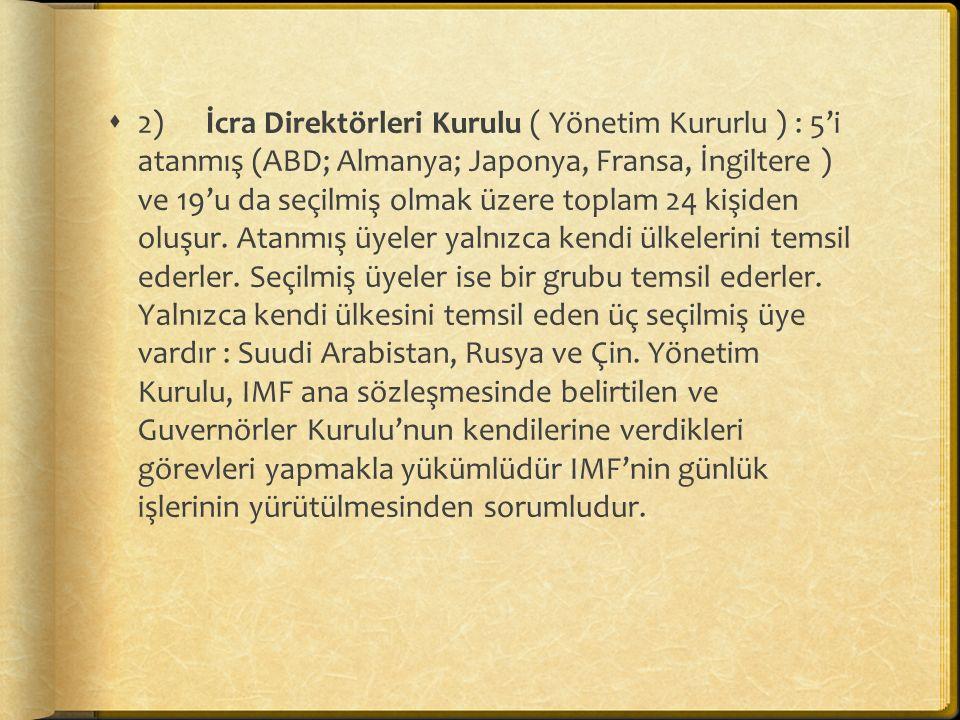  2) İcra Direktörleri Kurulu ( Yönetim Kururlu ) : 5'i atanmış (ABD; Almanya; Japonya, Fransa, İngiltere ) ve 19'u da seçilmiş olmak üzere toplam 24