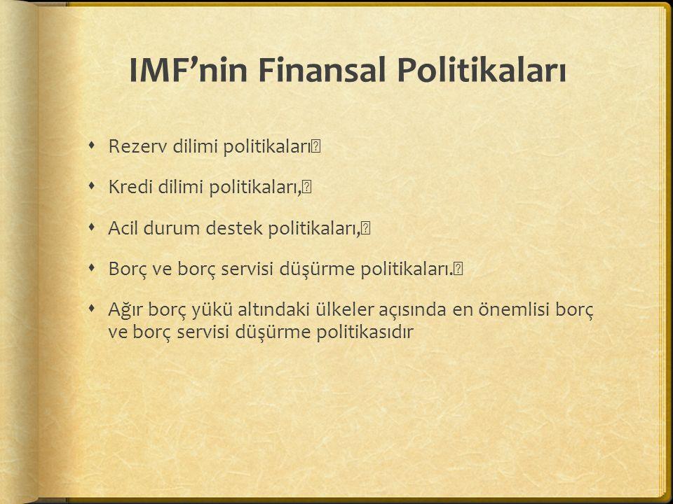 IMF'nin Finansal Politikaları  Rezerv dilimi politikaları  Kredi dilimi politikaları,  Acil durum destek politikaları,  Borç ve borç servisi düşür