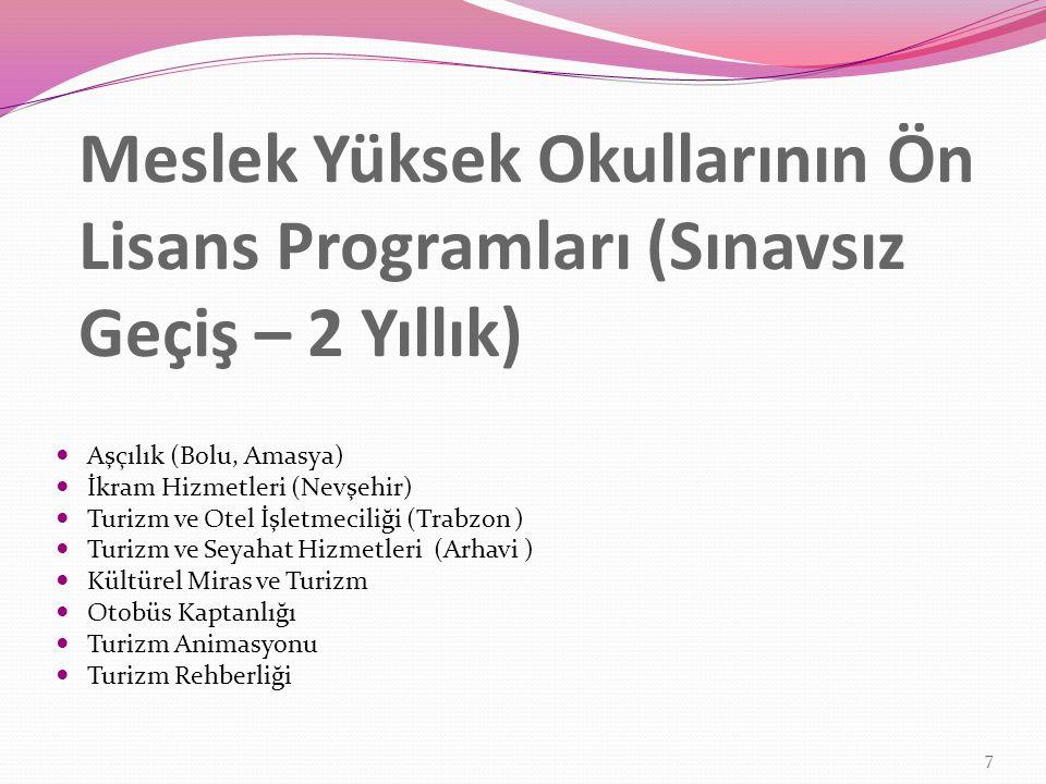 Meslek Yüksek Okullarının Ön Lisans Programları (Sınavsız Geçiş – 2 Yıllık) Aşçılık (Bolu, Amasya) İkram Hizmetleri (Nevşehir) Turizm ve Otel İşletmec