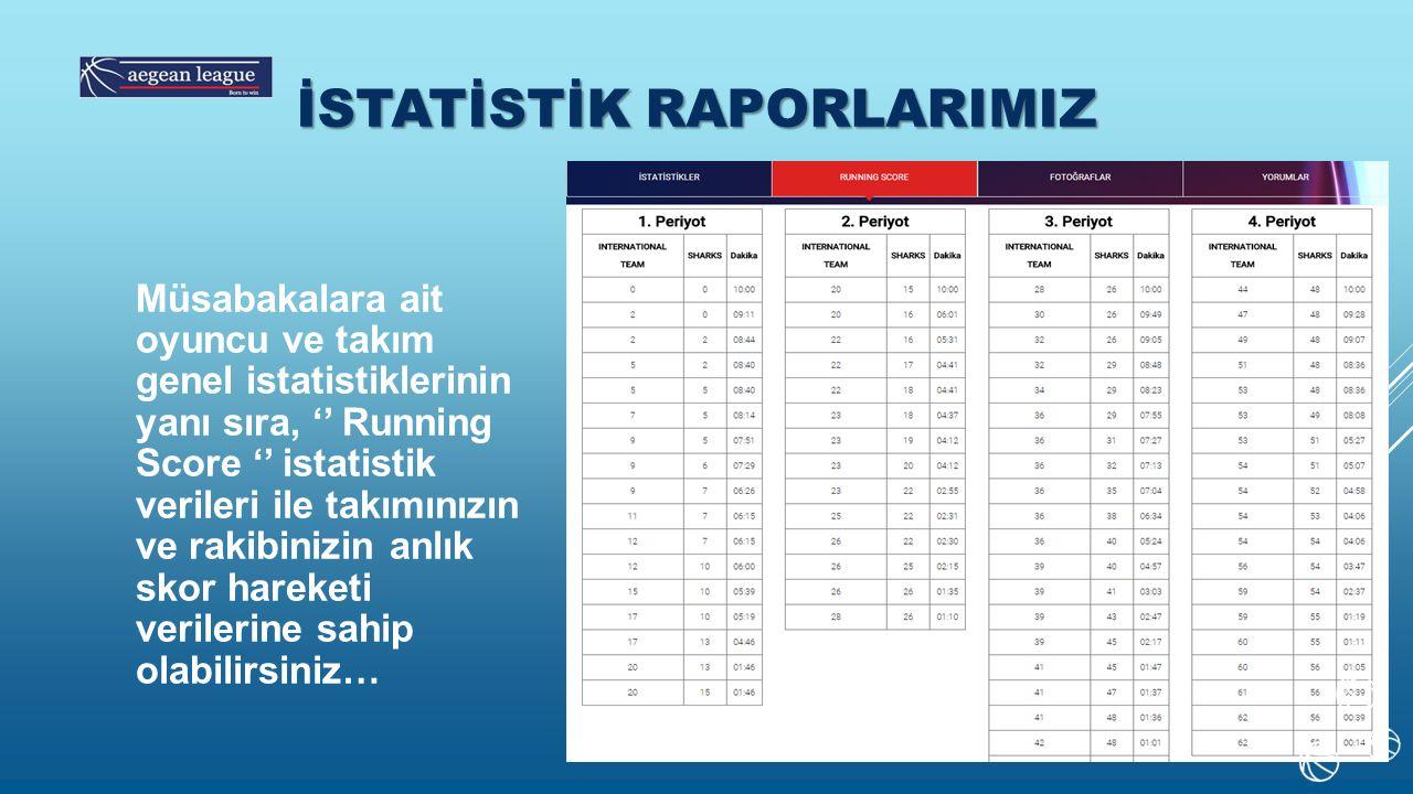 İSTATİSTİK RAPORLARIMIZ Müsabakalara ait oyuncu ve takım genel istatistiklerinin yanı sıra, '' Running Score '' istatistik verileri ile takımınızın ve rakibinizin anlık skor hareketi verilerine sahip olabilirsiniz…