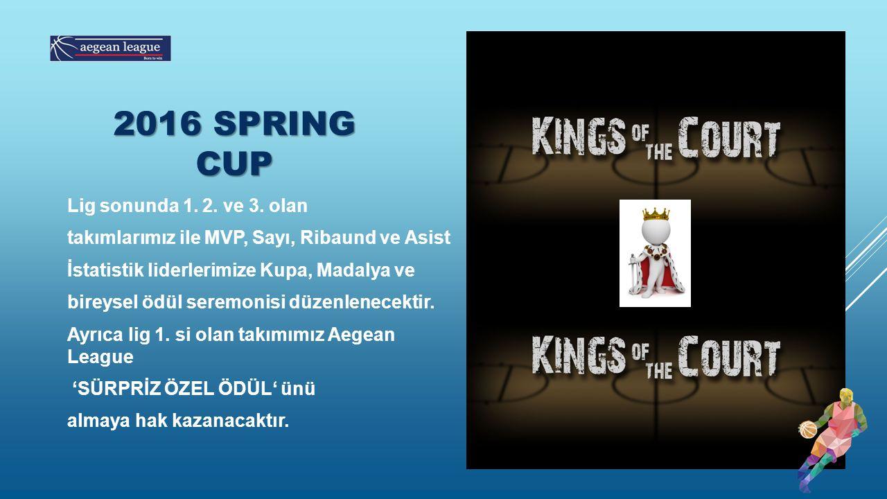 Lig sonunda 1. 2. ve 3. olan takımlarımız ile MVP, Sayı, Ribaund ve Asist İstatistik liderlerimize Kupa, Madalya ve bireysel ödül seremonisi düzenlene