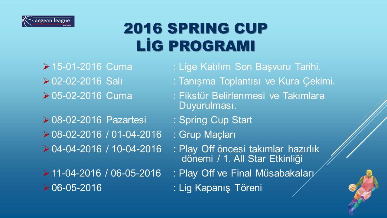 2016 SPRING CUP LİG PROGRAMI  15-01-2016 Cuma : Lige Katılım Son Başvuru Tarihi.  02-02-2016 Salı : Tanışma Toplantısı ve Kura Çekimi.  05-02-2016