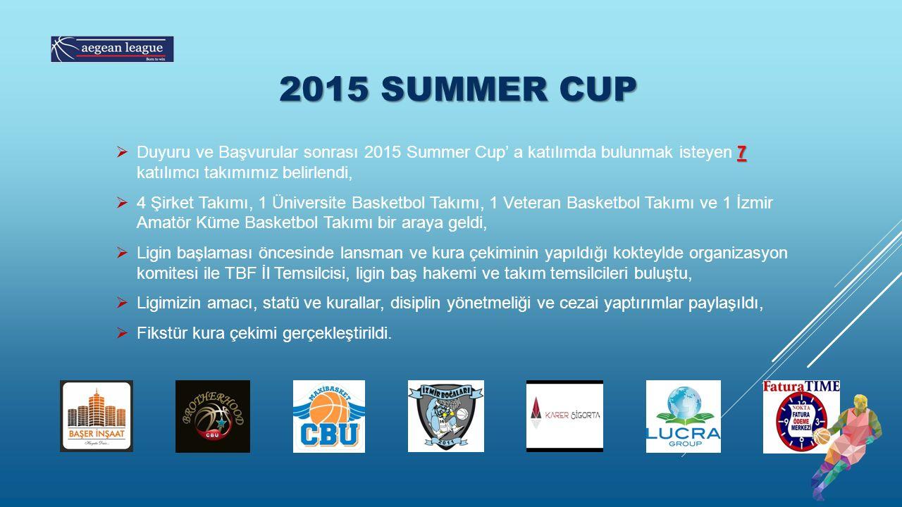 2015 SUMMER CUP 7  Duyuru ve Başvurular sonrası 2015 Summer Cup' a katılımda bulunmak isteyen 7 katılımcı takımımız belirlendi,  4 Şirket Takımı, 1 Üniversite Basketbol Takımı, 1 Veteran Basketbol Takımı ve 1 İzmir Amatör Küme Basketbol Takımı bir araya geldi,  Ligin başlaması öncesinde lansman ve kura çekiminin yapıldığı kokteylde organizasyon komitesi ile TBF İl Temsilcisi, ligin baş hakemi ve takım temsilcileri buluştu,  Ligimizin amacı, statü ve kurallar, disiplin yönetmeliği ve cezai yaptırımlar paylaşıldı,  Fikstür kura çekimi gerçekleştirildi.