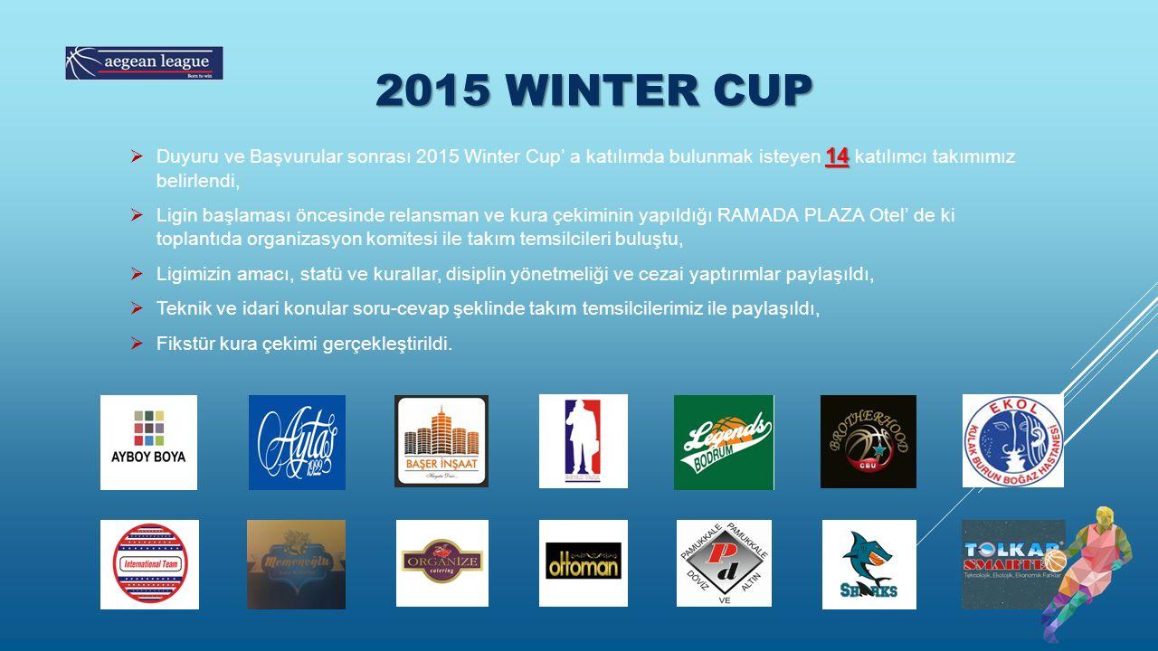 2015 WINTER CUP 14  Duyuru ve Başvurular sonrası 2015 Winter Cup' a katılımda bulunmak isteyen 14 katılımcı takımımız belirlendi,  Ligin başlaması öncesinde relansman ve kura çekiminin yapıldığı RAMADA PLAZA Otel' de ki toplantıda organizasyon komitesi ile takım temsilcileri buluştu,  Ligimizin amacı, statü ve kurallar, disiplin yönetmeliği ve cezai yaptırımlar paylaşıldı,  Teknik ve idari konular soru-cevap şeklinde takım temsilcilerimiz ile paylaşıldı,  Fikstür kura çekimi gerçekleştirildi.