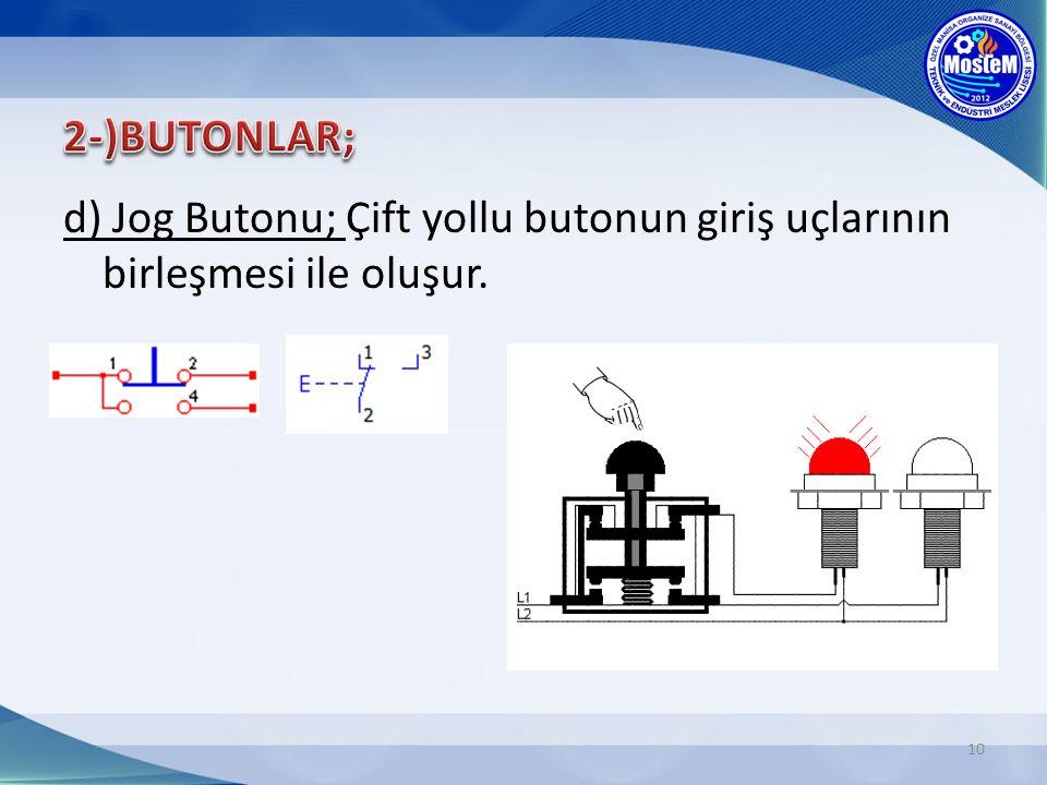 10 d) Jog Butonu; Çift yollu butonun giriş uçlarının birleşmesi ile oluşur.