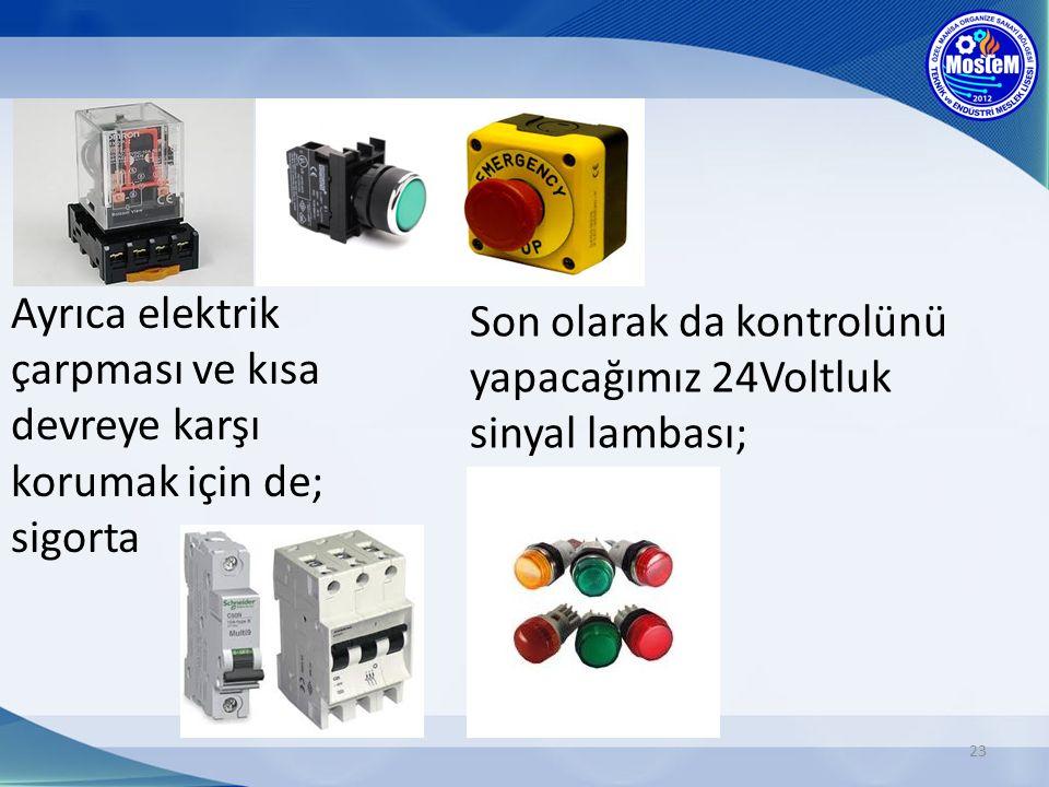 23 Ayrıca elektrik çarpması ve kısa devreye karşı korumak için de; sigorta Son olarak da kontrolünü yapacağımız 24Voltluk sinyal lambası;