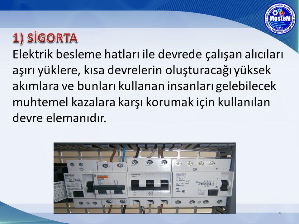 5 Elektrik besleme hatları ile devrede çalışan alıcıları aşırı yüklere, kısa devrelerin oluşturacağı yüksek akımlara ve bunları kullanan insanları gelebilecek muhtemel kazalara karşı korumak için kullanılan devre elemanıdır.