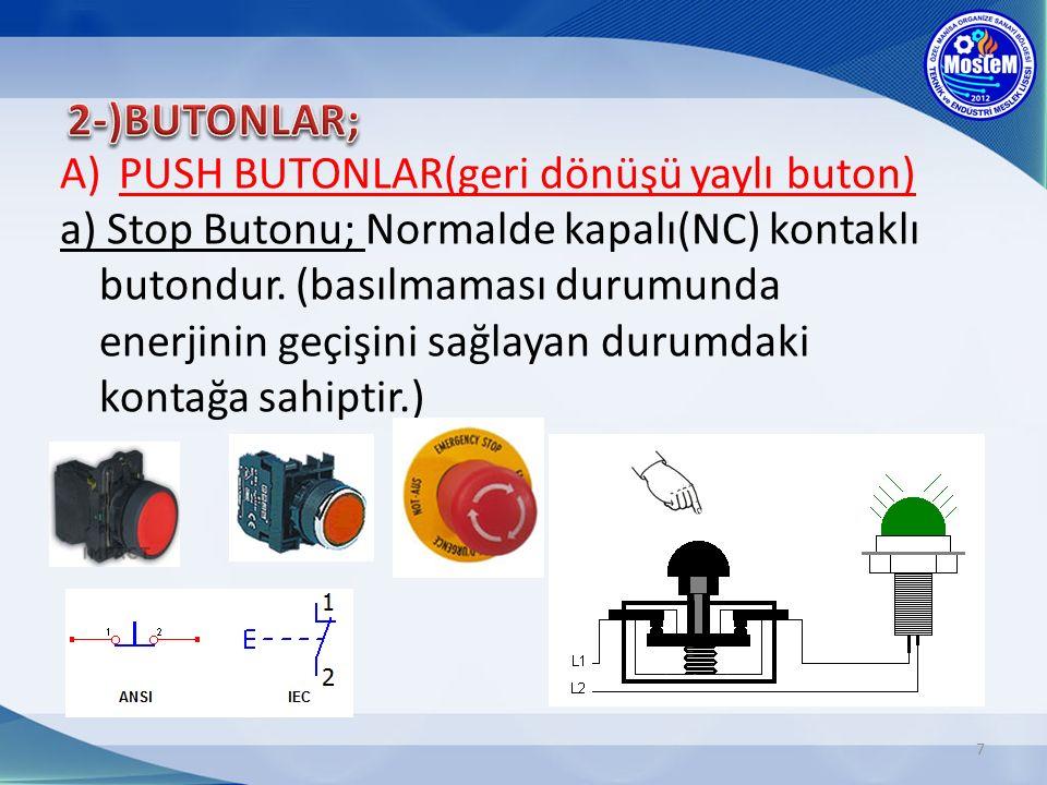 7 A)PUSH BUTONLAR(geri dönüşü yaylı buton) a) Stop Butonu; Normalde kapalı(NC) kontaklı butondur.