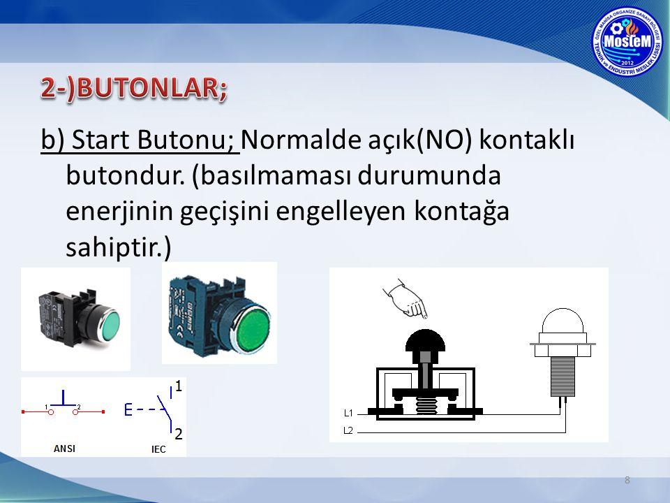 8 b) Start Butonu; Normalde açık(NO) kontaklı butondur.