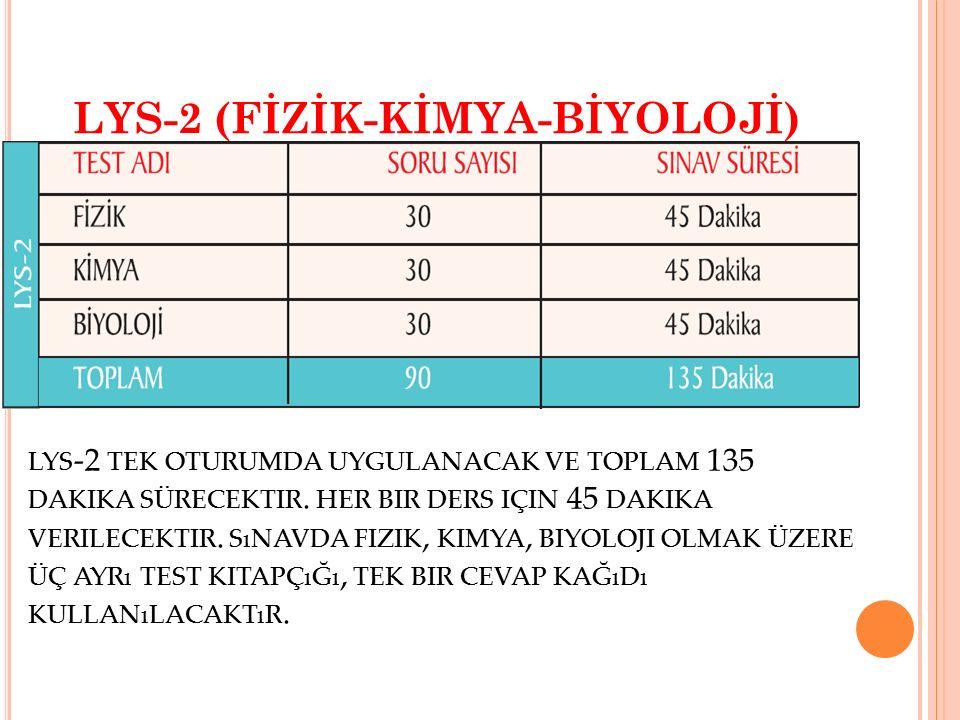 LYS-2 (FİZİK-KİMYA-BİYOLOJİ) LYS -2 TEK OTURUMDA UYGULANACAK VE TOPLAM 135 DAKIKA SÜRECEKTIR. HER BIR DERS IÇIN 45 DAKIKA VERILECEKTIR. SıNAVDA FIZIK,