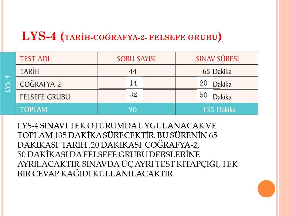 LYS-4 ( TARİH-COĞRAFYA-2- FELSEFE GRUBU ) LYS-4 SINAVI TEK OTURUMDA UYGULANACAK VE TOPLAM 135 DAKİKA SÜRECEKTİR. BU SÜRENİN 65 DAKİKASI TARİH,20 DAKİK