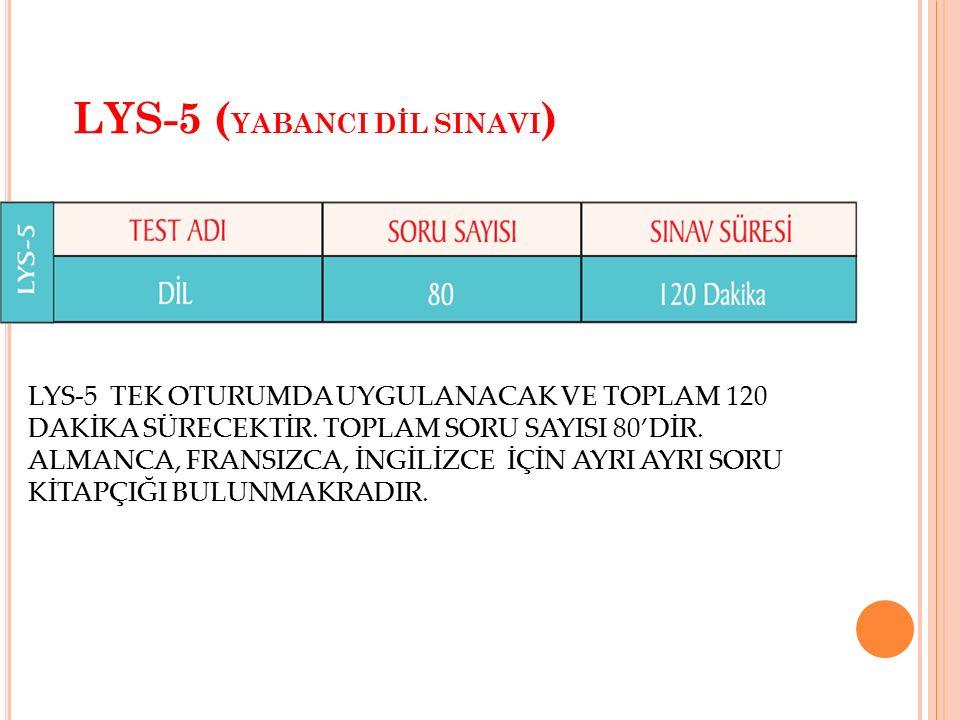 LYS-5 ( YABANCI DİL SINAVI ) LYS-5 TEK OTURUMDA UYGULANACAK VE TOPLAM 120 DAKİKA SÜRECEKTİR. TOPLAM SORU SAYISI 80'DİR. ALMANCA, FRANSIZCA, İNGİLİZCE