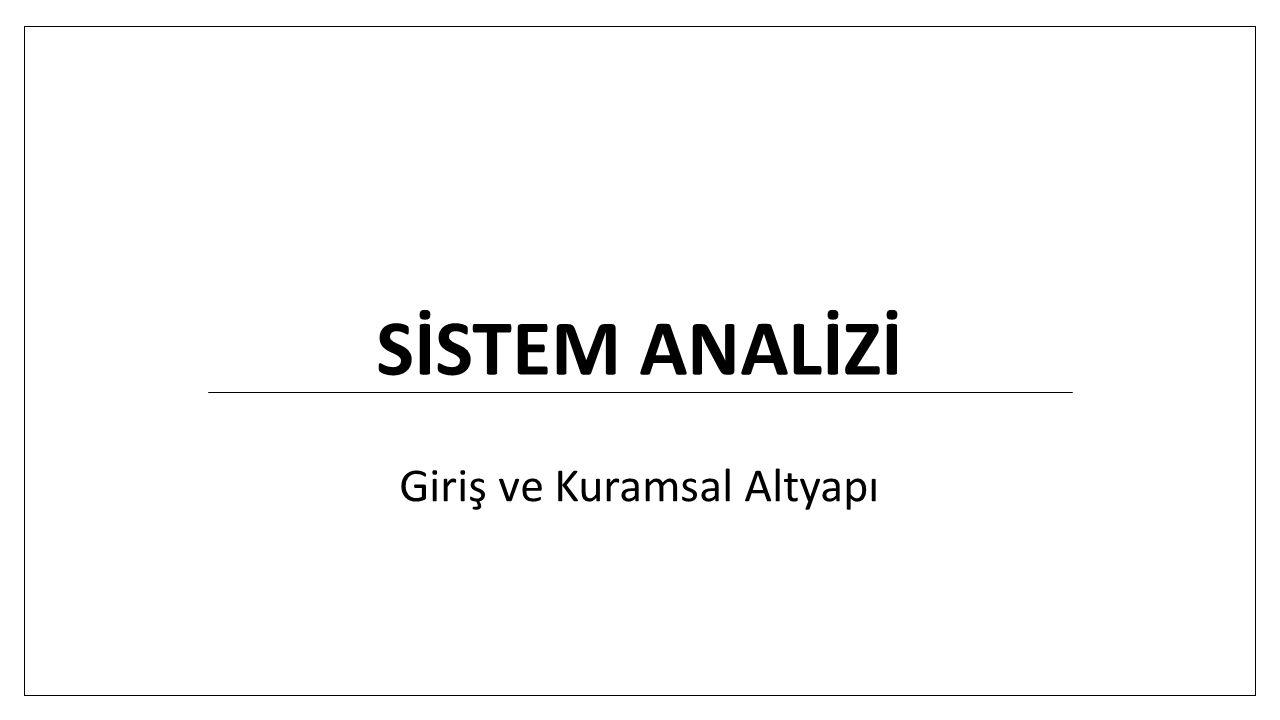 Giriş ve kuramsal altyapı Sistem düşüncesi Sistem teorisi / kuramı Sistem tanımları Sistemin ana unsurları / bileşenleri Sistem hiyerarşisi Sistem türleri / Sistemlerin sınıflandırılması