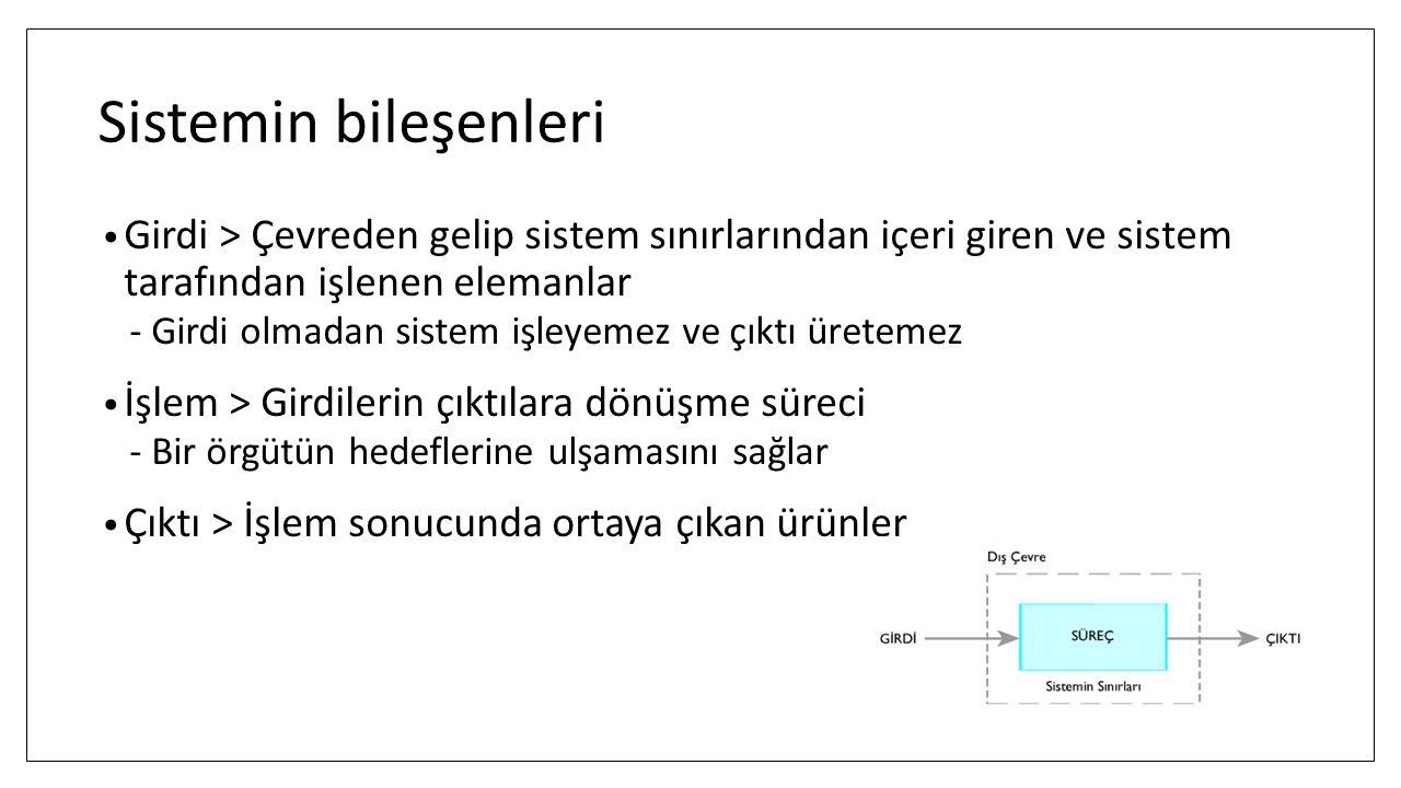 Sistemin temel unsurları Hedefler Çevre Kaynaklar (Personel, para, ekipman vb.) Parçalar (Alt sistemler) Yönetim