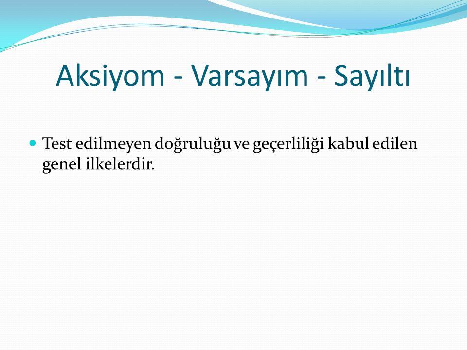 Aksiyom - Varsayım - Sayıltı Test edilmeyen doğruluğu ve geçerliliği kabul edilen genel ilkelerdir.