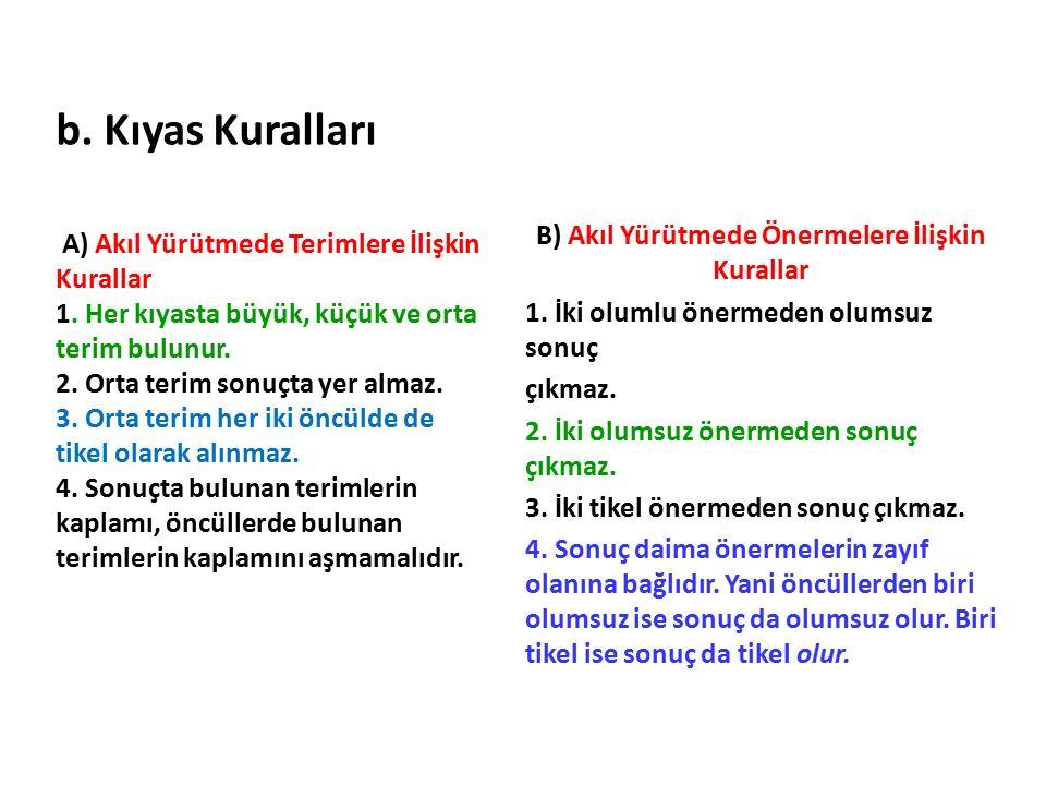 b. Kıyas Kuralları A) Akıl Yürütmede Terimlere İlişkin Kurallar 1. Her kıyasta büyük, küçük ve orta terim bulunur. 2. Orta terim sonuçta yer almaz. 3.