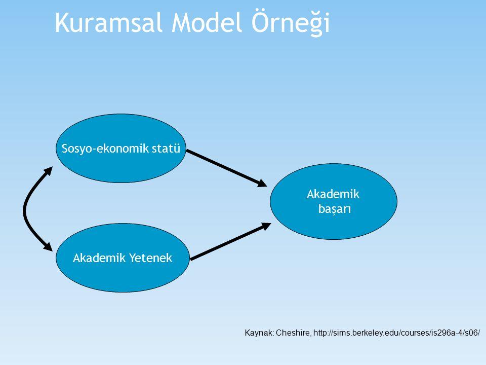 Sosyo-ekonomik statü Akademik Yetenek Akademik başarı Kuramsal Model Örneği Kaynak: Cheshire, http://sims.berkeley.edu/courses/is296a-4/s06/