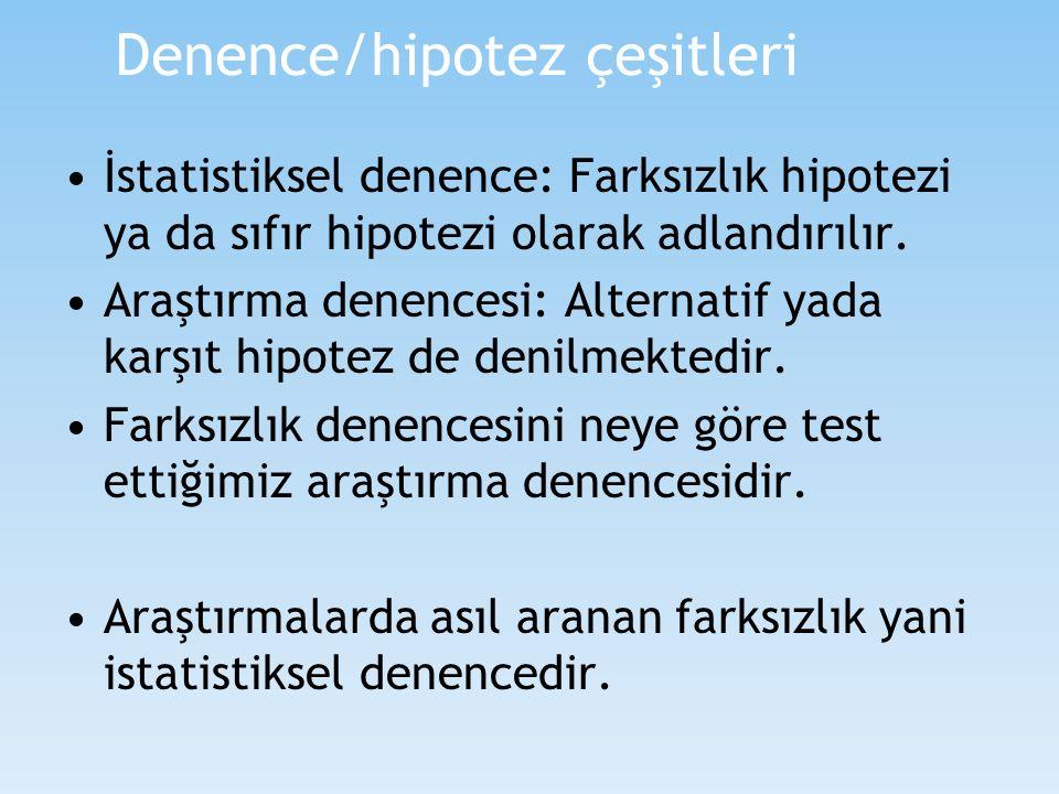 Denence/hipotez çeşitleri İstatistiksel denence: Farksızlık hipotezi ya da sıfır hipotezi olarak adlandırılır. Araştırma denencesi: Alternatif yada ka