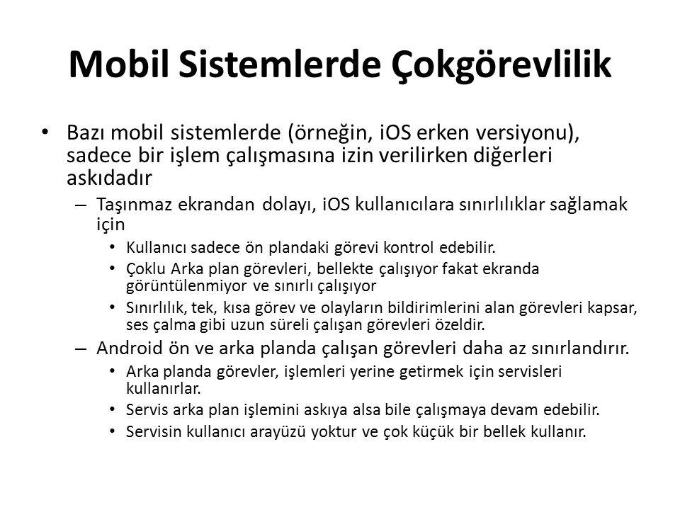 Mobil Sistemlerde Çokgörevlilik Bazı mobil sistemlerde (örneğin, iOS erken versiyonu), sadece bir işlem çalışmasına izin verilirken diğerleri askıdadı