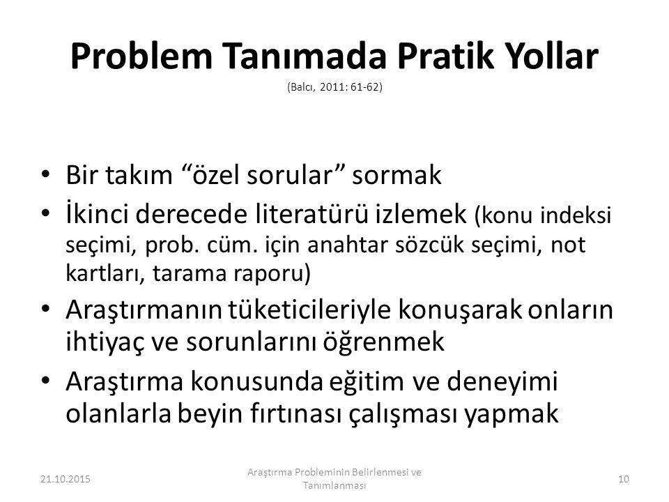 Problem Tanımada Pratik Yollar (Balcı, 2011: 61-62) Bir takım özel sorular sormak İkinci derecede literatürü izlemek (konu indeksi seçimi, prob.