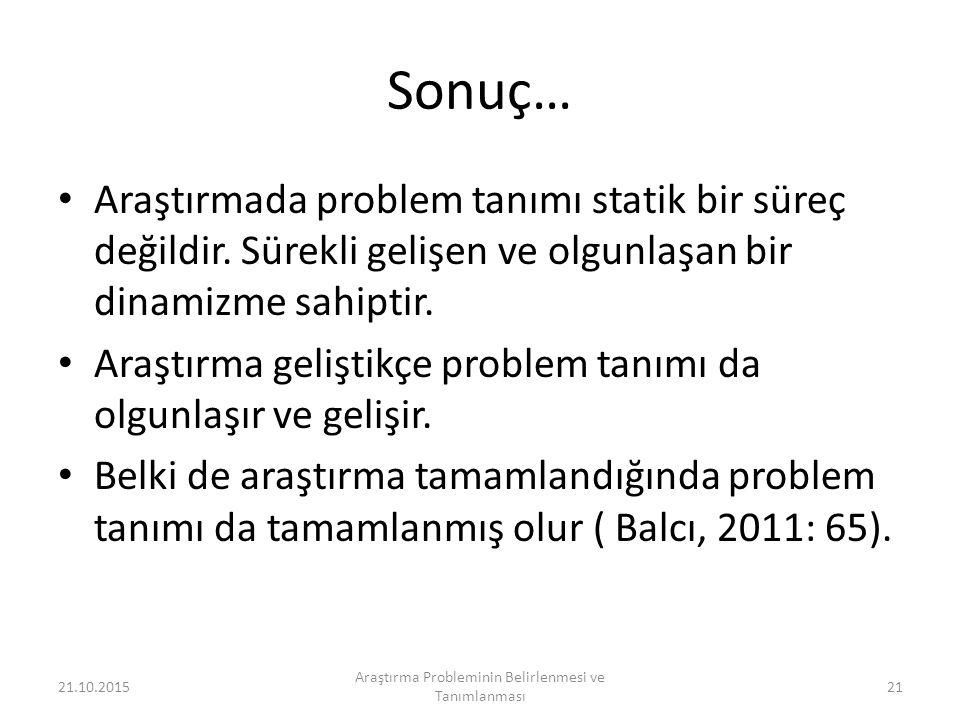 Sonuç… Araştırmada problem tanımı statik bir süreç değildir.
