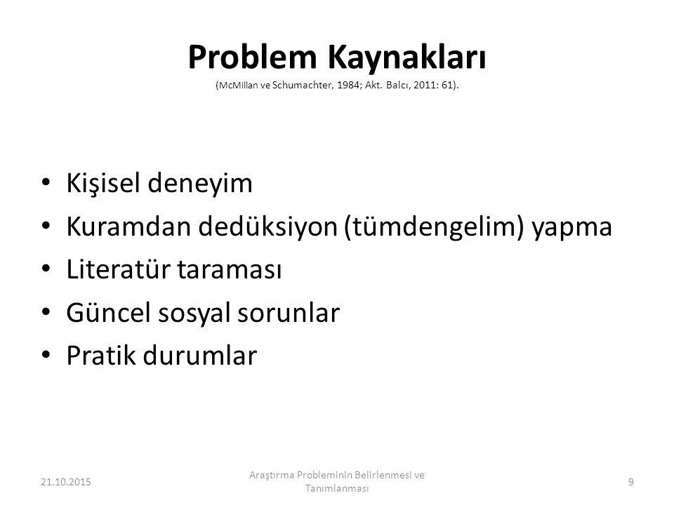 Problem Kaynakları ( McMillan ve Schumachter, 1984; Akt.